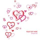 Corazones flotantes de la tarjeta del día de San Valentín Fotografía de archivo libre de regalías