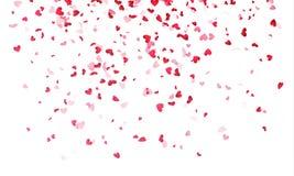 Corazones fondo, confeti rosado del corazón de Valentine Day que cae ilustración del vector