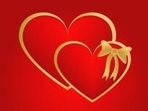 Corazones gemelos del oro de las tarjetas del día de San Valentín Foto de archivo libre de regalías