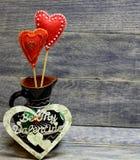 Corazones hechos a mano decorativos Fotografía de archivo libre de regalías