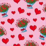 Corazones inconsútiles de las tarjetas del día de San Valentín Foto de archivo libre de regalías
