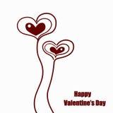 Corazones lindos del día de tarjetas del día de San Valentín Foto de archivo libre de regalías