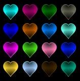 Corazones multicolores Fotos de archivo