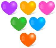 Corazones multicolores Imagenes de archivo