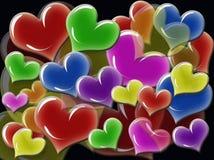 Corazones multicolores abstractos Imagen de archivo