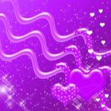 Corazones púrpuras y contexto de las chispas Foto de archivo