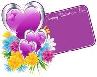 Corazones púrpuras y flores de la tarjeta del día de San Valentín Foto de archivo libre de regalías