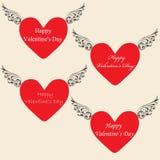 Corazones para el ` s Day3 de la tarjeta del día de San Valentín Imagen de archivo