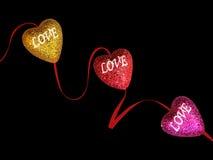 Corazones que brillan del amor Imagen de archivo libre de regalías
