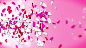 Corazones que vuelan en el fondo rojo Caramelo rojo y blanco Animaci?n del lazo del d?a de tarjeta del d?a de San Valent?n ilustración del vector