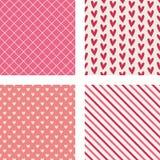 Corazones, rayas diagonales y modelos de la marca de rayitas cruzadas Fotos de archivo