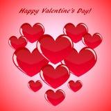 Corazones rojos abstractos del día de tarjeta del día de San Valentín