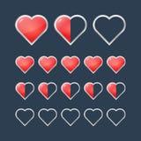 Corazones rojos con los iconos de relleno de la situación del grado Fotografía de archivo libre de regalías