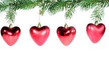 Corazones rojos de Chrismas Fotografía de archivo libre de regalías