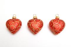 Corazones rojos de la Navidad Fotografía de archivo libre de regalías