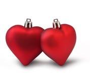 Corazones rojos de la tarjeta del día de San Valentín foto de archivo libre de regalías