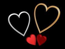 Corazones rojos de la tarjeta del día de San Valentín con los marcos del corazón Fotos de archivo