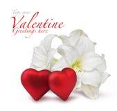 Corazones rojos de la tarjeta del día de San Valentín y lirio blanco Imagen de archivo libre de regalías