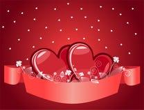 Corazones rojos de las tarjetas del día de San Valentín Imagen de archivo libre de regalías