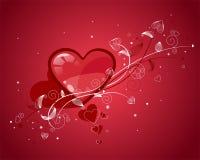 Corazones rojos de las tarjetas del día de San Valentín Imágenes de archivo libres de regalías