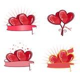 Corazones rojos de las tarjetas del día de San Valentín Fotos de archivo