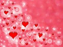 Corazones rojos del amor de la tarjeta del día de San Valentín Imagen de archivo libre de regalías