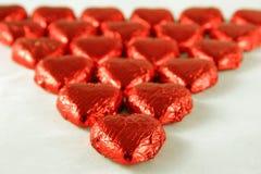 Corazones rojos del chocolate Foto de archivo libre de regalías