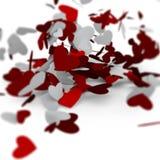 Corazones rojos del día de tarjetas del día de San Valentín en el fondo blanco, tarjeta de la celebración Foto de archivo