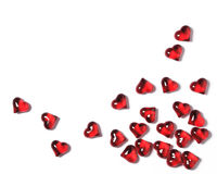 Corazones rojos en un fondo blanco con las sombras, fondo del concepto de las tarjetas del día de San Valentín Imagen de archivo libre de regalías