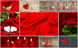 Corazones rojos, flores color de rosa, decoración Rose roja Fotos de archivo libres de regalías