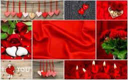 Corazones rojos, flores color de rosa, decoraciones Rose roja Foto de archivo libre de regalías