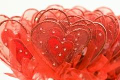 Corazones rojos para la tarjeta del día de San Valentín fotografía de archivo libre de regalías