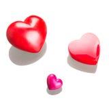 Corazones rojos para las tarjetas del día de San Valentín aisladas Imagen de archivo libre de regalías