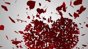Corazones rojos que caen en la superficie blanca ilustración del vector