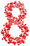 Corazones rojos que consisten en del dígito ocho para el 8 de marzo Fotografía de archivo
