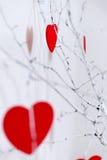 Corazones rojos que cuelgan en el árbol Imagen de archivo libre de regalías