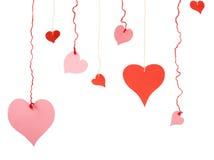 Corazones rojos y rosados de diversa forma de la tarjeta del día de San Valentín del papel Imagenes de archivo