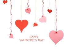 Corazones rojos y rosados de diversa forma de la tarjeta del día de San Valentín del papel Imágenes de archivo libres de regalías