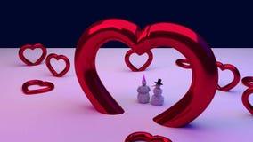 Corazones rojos y un muñeco de nieve y su novia