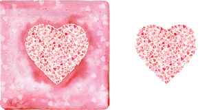 Corazones rosados de la acuarela Foto de archivo libre de regalías