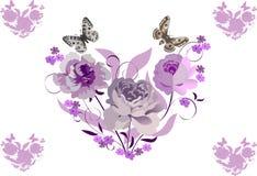 Corazones rosados de la flor stock de ilustración