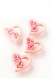 Corazones rosados de la tarjeta del día de San Valentín Imagenes de archivo