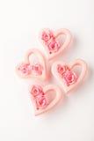 Corazones rosados de la tarjeta del día de San Valentín Fotos de archivo libres de regalías