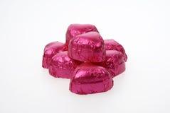 Corazones rosados del chocolate Fotografía de archivo