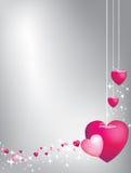 Corazones rosados en cadenas Foto de archivo libre de regalías