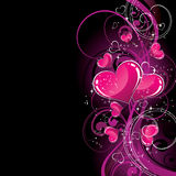 Corazones rosados en negro Imagen de archivo