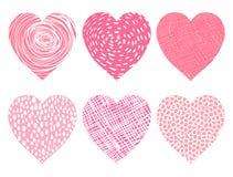 Corazones rosados lindos del vector para el día del ` s de la tarjeta del día de San Valentín Imágenes de archivo libres de regalías