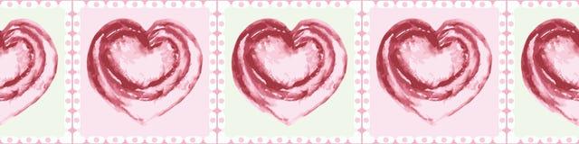 Corazones rosados pintados a mano del watercolour del vintage en menta y diseño cuadrado rosado de la frontera Modelo geom?trico  stock de ilustración