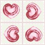 Corazones rosados pintados a mano del watercolour del vintage en modelo geométrico inconsútil enmarcado del vector de los cuadrad libre illustration