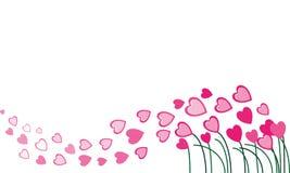 Corazones rosados que vuelan en el viento Foto de archivo libre de regalías